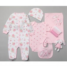 T19899: Baby Girls Floral Bunny 10 Piece Mesh Bag Gift Set (NB-6 Months)
