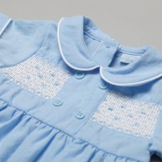T19948: Baby Boys Romper With Smocking (0-9 Months)