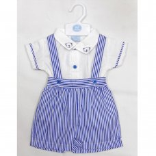 T19949: Baby Boys Shirt With Collar Embroidery & Stripe Short Set (0-9 Months)