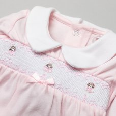 T19951: Baby Girls Smocked Cotton All In One On A Satin Padded Hanger (NB-6 Months)