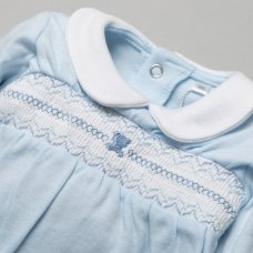 T19953: Baby Boys Smocked Cotton All In One On A Satin Padded Hanger (NB-6 Months)