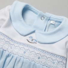 T19954: Baby Boys Smocked Cotton All In One On A Satin Padded Hanger (0-12 Months)