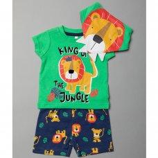 T19967:  Baby Boys Lion T-Shirt, Short & Bib Outfit (0-12 Months)