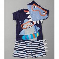 T19968:  Baby Boys Shark T-Shirt, Short & Bib Outfit (0-12 Months)