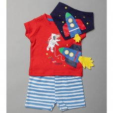 T19969:  Baby Boys Space T-Shirt, Short & Bib Outfit (0-12 Months)