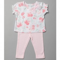 T20010: Baby Girls Floral Top & Legging Outfit (0-12 Months)