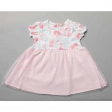 T20011: Baby Girls Floral Dress With Mesh Skirt (0-12 Months)