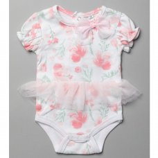 T20013: Baby Girls Floral Bodysuit With Tutu (0-12 Months)
