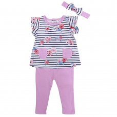 T20014:  Baby Girls Floral Tunic, Leggings & Headband Outfit (3-24 Months)