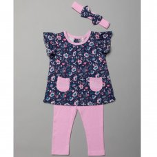T20015:  Baby Girls Floral Tunic, Leggings & Headband Outfit (3-24 Months)