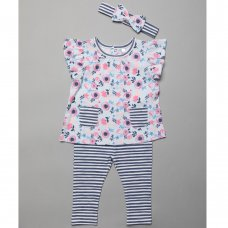 T20017:  Baby Girls Floral Tunic, Leggings & Headband Outfit (3-24 Months)