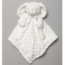 T20044: Baby White Bunny Comforter & Blanket On A Satin Padded Hanger