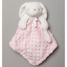 T20046: Baby Girls Bunny Comforter & Blanket On A Satin Padded Hanger