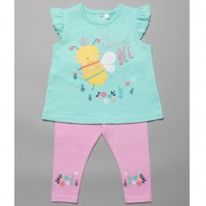 T20062:  Baby Girls T-Shirt With Bee Graphic & Legging Outfit (3-24 Months)