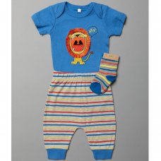 T20068:  Baby Boys Lion Bodysuit, Jog Pant & Socks Set (0-6 Months)