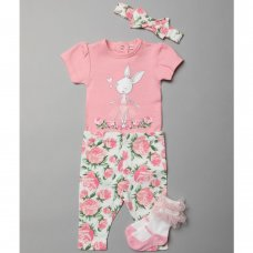 T20069:  Baby Girls Floral Bunny 4 Piece Set (0-12 Months)