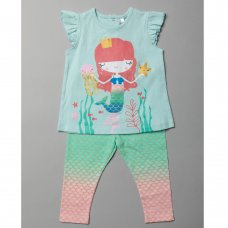T20085:  Baby Girls Mermaid T-Shirt & Legging Outfit (3-24 Months)