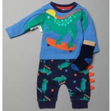 T20095:  Baby Boys 3D Dinosaur Top, Jog Pant & Socks Outfit (0-12 Months)
