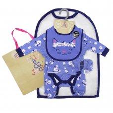 T20117: Baby Girls Floral Cat 6 Piece Mesh Bag Gift Set (NB-6 Months)