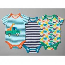 T20120: Baby Boys Safari 3 Pack Bodysuits (0-12 Months)