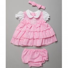 T20124A: Baby Girls Tiered Gingham Dress, Pant & Headband Set (0-9 Months)