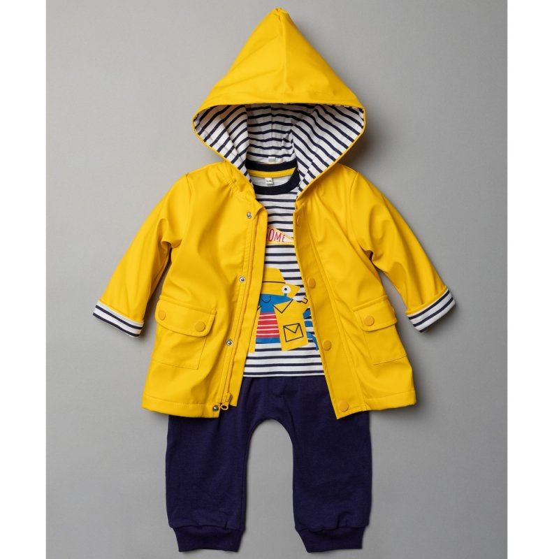 T20159: Baby Boys Hooded Rain Jacket, Printed T-Shirt & Jog Pant Outfit (6-24 Months)