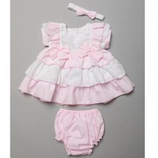 T20160B: Baby Girls Tiered Polka Dot &  Broderie  Anglais Dress, Pant & Headband Set (6-24 Months)