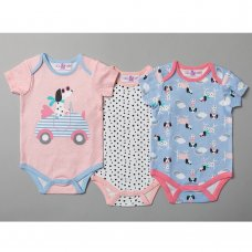 T20164: Baby Girls Dogs 3 Pack Bodysuits (0-12 Months)