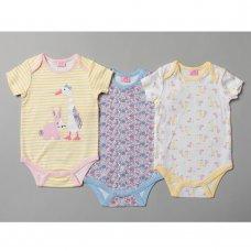 T20165: Baby Girls Animals 3 Pack Bodysuits (0-12 Months)