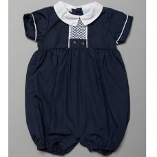 T20170: Baby Boys Romper With Smocking  (0-9 Months)