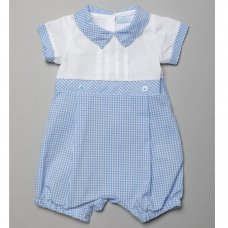 T20173: Baby Boys Gingham Romper With Pleats  (0-9 Months)