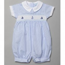 T20175: Baby Boys Romper With Smocking & Embroidery (0-9 Months)