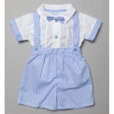 T20176: Baby Boys Shirt With Mock Bow Tie & Stripe Short Set (0-9 Months)