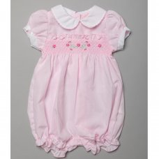 T20177: Baby Girls Romper With Smocking (0-9 Months)