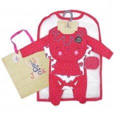 T20180: Baby Girls Strawberries  6 Piece Mesh Bag Gift Set (NB-6 Months)