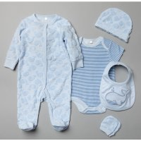 T20181: Baby Boys Blue Whale Embossed 5 Piece Gift Set (NB-6 Months)