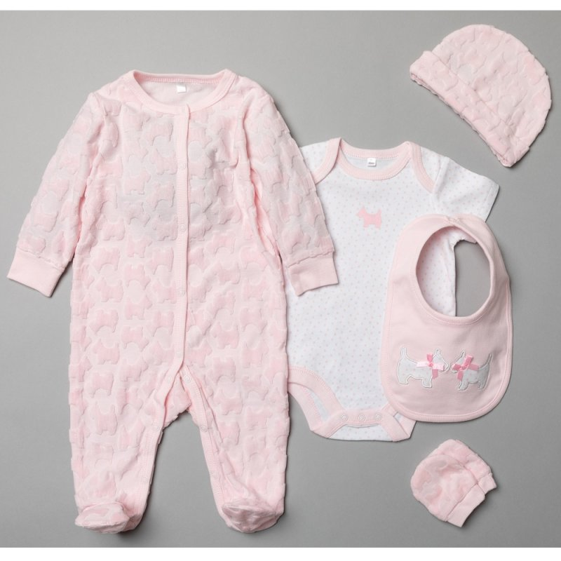 T20182: Baby Girls Scottie Dogs Embossed 5 Piece Gift Set (NB-6 Months)