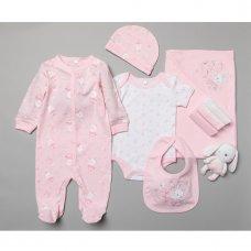T20184: Baby Girls Bunny 10 Piece Mesh Bag Gift Set (NB-6 Months)