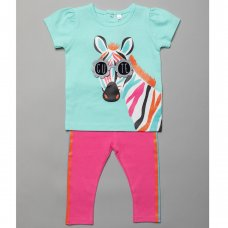 T20186:  Baby Girls Zebra Print T-Shirt With 3D Glasses & Legging Outfit (3-24 Months)
