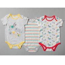 T20188: Baby Unisex Farmyard 3 Pack Bodysuits (0-12 Months)
