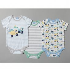 T20189: Baby Boys Tractors 3 Pack Bodysuits (0-12 Months)