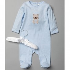 T20195: Baby Boys Sleepsuit With Crochet Applique On A Satin Padded Hanger  (0-9 Months)