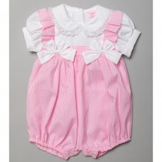 T20203: Baby Girls Gingham Romper With Bows (0-9 Months)
