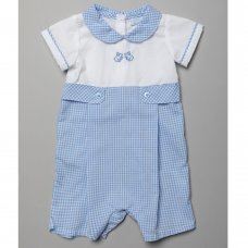 T20210: Baby Boys Gingham Romper With Bunny Applique  (0-9 Months)