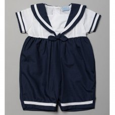 T20212: Baby Boys Sailor Romper With Contrast Stripes  (0-9 Months)