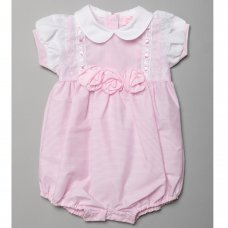 T20214: Baby Girls Stripe Romper With 3D Flowers (0-9 Months)