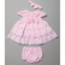 T20222B: Baby Girls Tiered Dress With Satin Trims, Pant & Headband Set (6-24 Months)