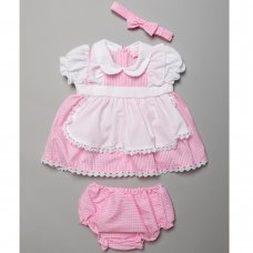 T20223A: Baby Girls Gingham Apron Style Dress, Pant & Headband Set (0-9 Months)