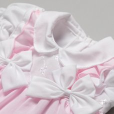 T20226B: Baby Girls Ruffles & Bows Dress, Pant & Headband Set (6-24 Months)
