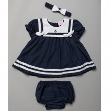 T20227B: Baby Girls Nautical Sailor Dress , Pant & Headband Set (6-24 Months)